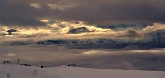 Himlen bränner i Zermatt royaltyfri fotografi