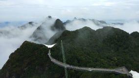 Himmel-Brücke und Drahtseilbahn, Langkawi-Insel, Malaysia stock video footage