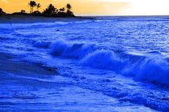 Himmel för ö för havvågor och molnpalmträd Arkivbilder
