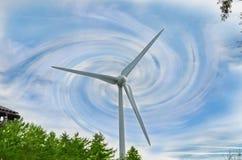 Himmel för abstrakt begrepp för vindkraftväxt blå Arkivfoton