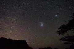 Himmel för astro för Magellanic moln stjärnklar, namibisk natt, Afrika Akaciaträd i förgrunden Äventyra in i det löst fotografering för bildbyråer