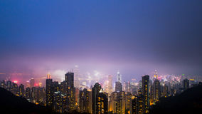 Himmel för ljus för Hong Kong victoria maximumnatt Arkivfoton