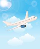 Himmel för moln för fluga för luft för flygplanflygbiljetter Bakgrund med flygplanet, runt om världen royaltyfri illustrationer
