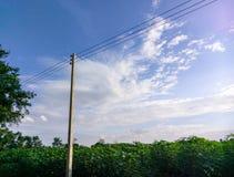Himmel för plats för Prajinburi Thailand naturlandskap blå och stads- väg till den attraktiv naturliga känseln som är ny och att  Arkivfoton