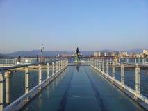 Himmel går över Soyang sjön i Chuncheon royaltyfria bilder