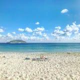 Himmel, hav och sand Royaltyfri Fotografi