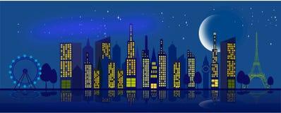Himmel i staden på natten med månen och stjärnorna royaltyfri illustrationer