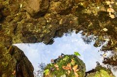 Himmel med moln som reflekterar i vattnet Fotografering för Bildbyråer