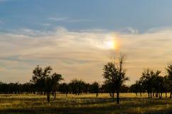 Himmel mit einem Regenbogen in der Sonne Lizenzfreie Stockfotos