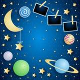 Himmel mit Mond, Planeten und Fotorahmen lizenzfreie stockbilder