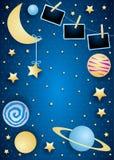 Himmel mit Mond, Planeten und Fotorahmen stockbilder