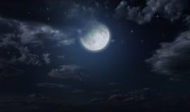 Himmel och måne för natt stjärnklar arkivbild