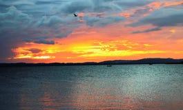 ?Himmel p? brand ?: solnedg?ng av Nicaragua sj?n, Ometepe ?, Nicaragua arkivbild