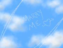 Himmel-Schreiben - HEIRATEN Sie MICH lizenzfreies stockfoto