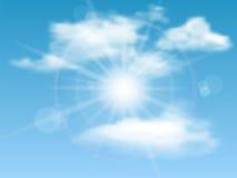 Himmel sol, moln, bakgrund Arkivbilder