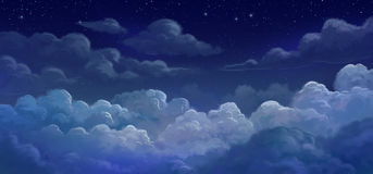 Himmel und colund in der Nacht Lizenzfreie Stockfotografie