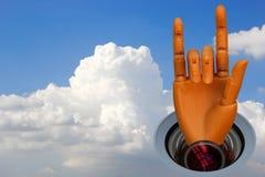 Himmel- und Roboterhand Stockbilder
