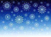 Himmel und Schneeflocken lizenzfreie abbildung