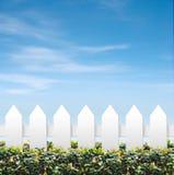 Himmel und weiße Zäune Lizenzfreie Stockbilder