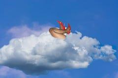 Himmel und Wolke mit Frauen ` s Beinen in den hohen Absätzen Stockfotografie