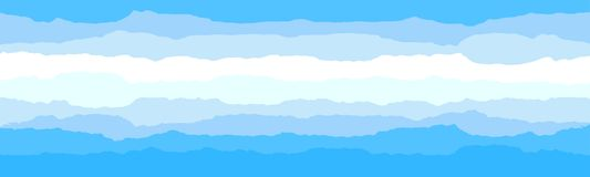 Himmel- und Wolkenhintergrund Stilvoller Entwurf mit einem flachen Plakat, Flieger, Postkarten, Netzfahnen lizenzfreie abbildung
