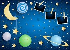 Himmel vid natt med månen, planeter och fotoramar royaltyfria bilder