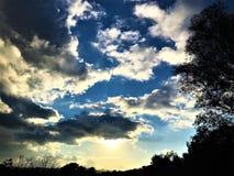 Himmel, Wolken, Bäume und Horizont Stockbild