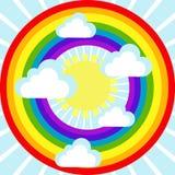 Himmelbakgrund med moln, solen och regnbågen Fotografering för Bildbyråer