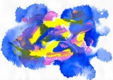 himmelblått, blått, gräsplan, rosa färger och gulingakryl och vattenfärg arkivbilder