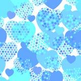 Himmelblauherz mit nahtlosem Muster des Tupfenherzens auf weißem Hintergrund Vektor Lizenzfreies Stockfoto