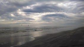 Himmellinie auf dem Strand Stockfotografie