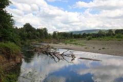 Himmelreflexioner i floden Fotografering för Bildbyråer