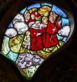 Himmels-Gerechtigkeits-Stained Glass De Krijtberg-Kirche Amsterdam Holland Netherlands lizenzfreies stockfoto