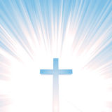 Himmels-Leuchte-und Christ-Kreuz Lizenzfreie Stockfotografie