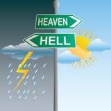 Himmels- und Höllenzeichen Stockfotos