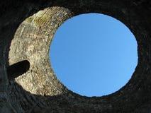 Himmelsikt till och med taket av entrén på den imperialistiska slotten arkivbilder