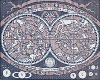 Himmelsk översikt för tappning som visar planeter, konstellationer och tecknet Fotografering för Bildbyråer