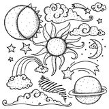 Himmelskt beståndsdelklotter Arkivbilder