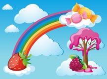 Himmelszene mit Regenbogen und Süßigkeit Stockbild