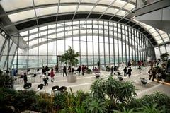 Himmelträdgård i en skyskrapa i den London staden, England Royaltyfri Fotografi