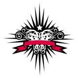 Himmlisches Kreuz mit roter Fahne Lizenzfreies Stockbild