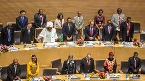 Himno del AU en la ceremonia de inauguración del 50.o aniversario del Fotografía de archivo libre de regalías