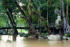 Hin Lad Waterfall. Hin Lad in Jungle , Koh Samui, Thailand Royalty Free Stock Photo