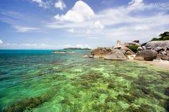 Hin Ta和Hin亚伊,祖父和祖母岩石,酸值苏梅岛,拉迈海滩,泰国风景 库存照片