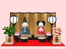 `Hina Ningyou`  Japanese traditional dolls for girls. `Hina Ningyou`  Japanese traditional dolls for girls , 3D illustration Royalty Free Stock Photo