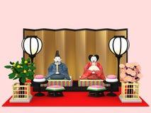 `Hina Ningyou`  Japanese traditional dolls for girls. `Hina Ningyou`  Japanese traditional dolls for girls , 3D illustration Stock Photography