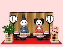 `Hina Ningyou`  Japanese traditional dolls for girls. `Hina Ningyou`  Japanese traditional dolls for girls , 3D illustration Stock Photo