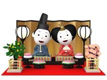 `Hina Ningyou`  Japanese traditional dolls for girls. `Hina Ningyou`  Japanese traditional dolls for girls , 3D illustration Royalty Free Stock Photos