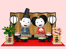 `Hina Ningyou`  Japanese traditional dolls for girls. `Hina Ningyou`  Japanese traditional dolls for girls , 3D illustration Royalty Free Stock Images