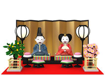 `Hina Ningyou`  Japanese traditional dolls for girls. `Hina Ningyou`  Japanese traditional dolls for girls , 3D illustration Royalty Free Stock Image